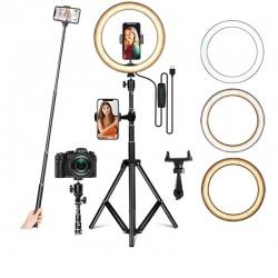 LED selfie ring - invullicht lamp - met statief - voor make-up/video/foto's - dimbaar