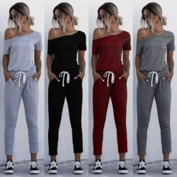 Sexy jumpsuit - off shoulders - short sleeve - with waist drawstrings