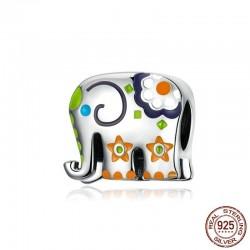 Thailand elephant - colorful enamel - 925 Sterling Silver - charm for bracelet
