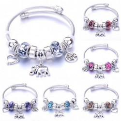 Elegant bracelet - with charms - elephant / beads / heart / feather / crystal flowers