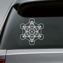 Metatron's kubus - heilige geometrie sticker - voor auto / laptop / raam