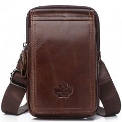 Vintage small shoulder bag - waist pack - genuine leather - flap design