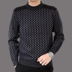 Fashionable plaid knitted sweater - cashmere / wool - slim fit