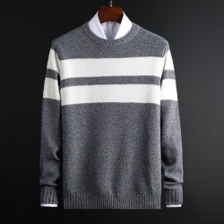 Classic knitted sweater with stripes - cashmere / cotton