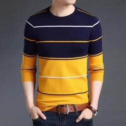 Elegant men's striped sweater - slim fit