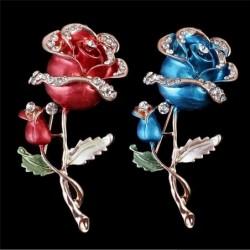 Luxe broche met dubbele kristallen roos