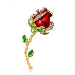 Elegante vintage broche - met kristallen roos