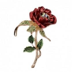 Driebladige kristallen roos - broche