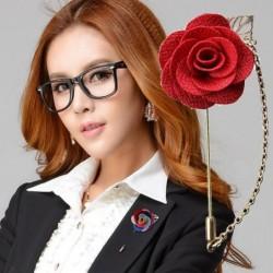 Modieuze broche met roos / ketting - lange naald - unisex