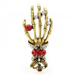 Kristallen schedel hand - vintage broche