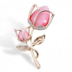 Luxe broche met kristallen roze bloem