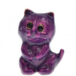 Emaille paarse kat - broche