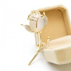 Rose Flower Brooches for Women Tulip Fashion Pin Elegant Rhinestone Brooch Jewelry High Quality