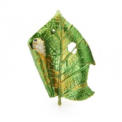Wuli&baby New Design Czech Rhinestone Silkworm Leaf Brooches Women Men Insect Party Office Brooch Pins Gifts