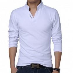 Classic elegant t-shirt - with mandarin collar - long sleeve - slim fit - cotton