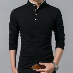 Elegant t-shirt - long sleeve - mandarin collar with buttons - cotton