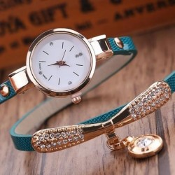 Fashionable multi-layer bracelet with a watch / crystals