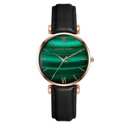 Luxurious watch with a green stone - stainless steel / leather