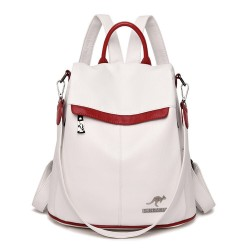 Fashionable leather backpack - anti-theft zippers - large capacity - contrast colors - with kangaroo logo