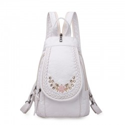 Fashionable leather backpack - cats / flowers print - white / black / pink