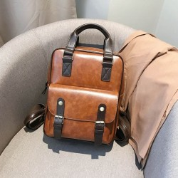 Vintage leather backpack - with anti theft zippers / buckles - waterproof