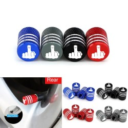 Car tire valves - aluminum caps - middle finger - 4 pieces