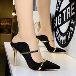 Sexy thin high heels - low cut - slip-on sandals