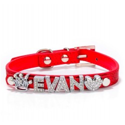DIY Name Dog Collar With Buckle Necklace With 10MM Rhinestone Letters & Charms