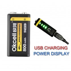 OKcell USB Lithium Rechargeable Battery 9V 800mah