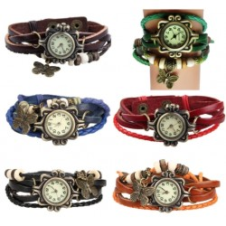 Leather Bracelet Watch With Butterfly Pendant*