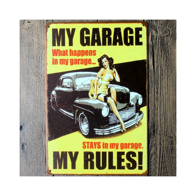My Garage My Rules Metal Wall Sticker Sign
