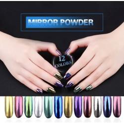 Poudre magique - gel UV - paillettes pour ongles - effet miroir - 12 pièces