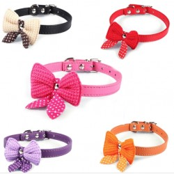 Leather Dog Puppy Pet Collars Knit Bowknot Necklace
