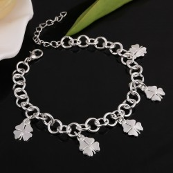 Women's silver plated bracelet with clover pendants