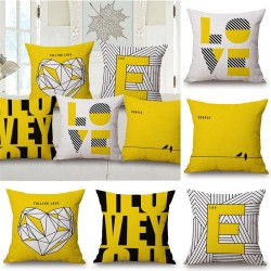 Yellow Style Love Pillowcase Cushion Cover Cotton 45*45cm ||