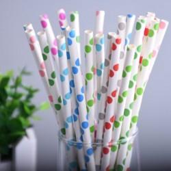 Pailles en Papier Colorées à Pois 25pcs