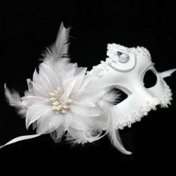 Venezianische weiße Feder & Blume Frauen Augenmaske