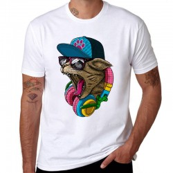 Crazy DJ Cat Design Men's Cotton T-shirt