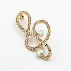 Gold & Silver Plated Alloy Crystal Music Note Brooch