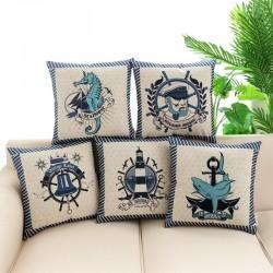 Printed anchor - rudder pillowcase - cushion cover - cotton case 45 * 45cm