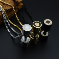 Men's Stainless Steel Dumbbell Pendant With Necklace |