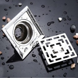 Quadratischer Bodenablauf aus Edelstahl für Badezimmer 10 cm * 10 cm