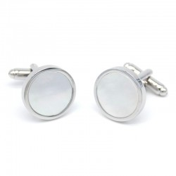 Silver Round Design Pearl Men's Cufflinks