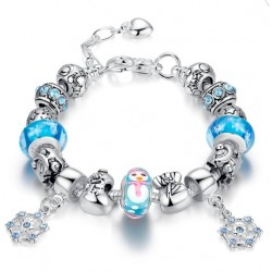 Silver Plated Crystal Glass Alloy Beads Snowflake Pendant Bracelet