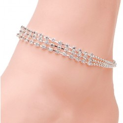 3 Rows Silver Clear Crystal Chain Anklet Bracelet