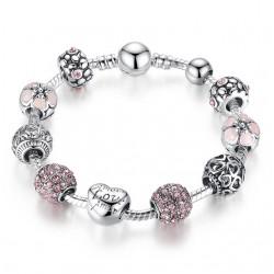 Silver Charm Bracelet & Bangle mit Liebe und Blume Kristall Ball Frauen Hochzeit