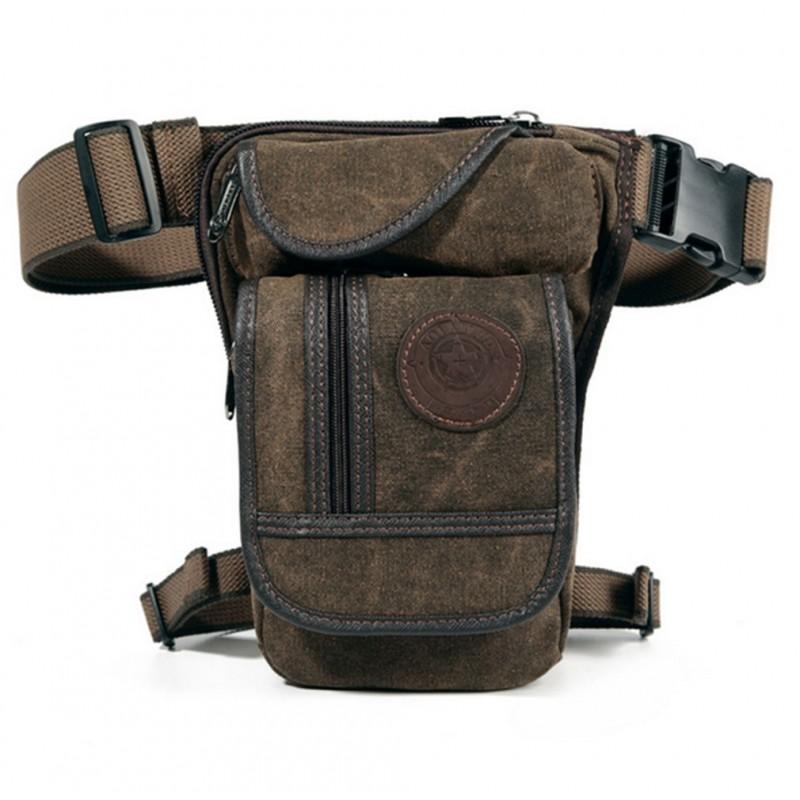 Men's Canvas Hip Belt Waist Thigh Military Leg Bag