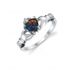 925er Sterlingsilber Multicolor Opal Damen Herz Ring |