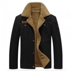 Militaire jas met bontkraag - katoen en fleece - warm en dik