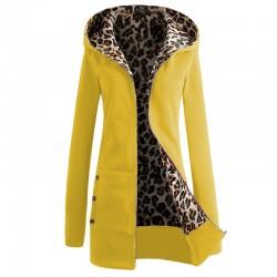 Women's Hooded Leopard Print Fleece Jacket Coat
